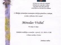 Smútočné oznámenie Miroslav Vrábel