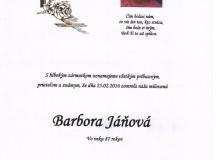 Smútočné oznámenie Barbora Jáňová