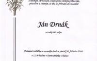 Smútočné oznámenie Ján Drnák