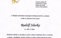 Smútočné oznámenie Rudolf Sdurko