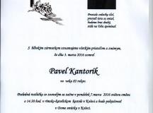 Smútočné oznámenie Pavol Kantorík