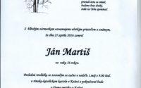 Smútočné oznámenie Ján Martiš