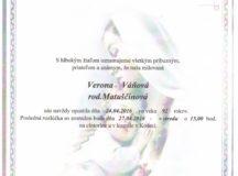 Smútočné oznámenie Verona Váňová
