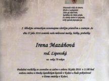 Smútočné oznámenie Irena Mazáňová