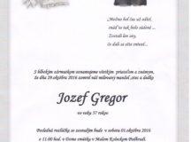 Smútočné oznámenie Jozef Gregor