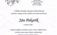 Smútočné oznámenie Ján Pekarík