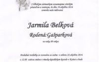 Smútočné oznámenie Jarmila Belková