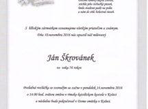 Smútočné oznámenie Ján Škrovánek