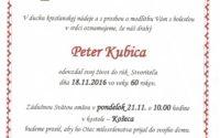 Smútočné oznámenie Peter Kubica