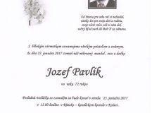 Smútočné oznámenie Jozef Pavlík