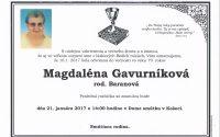 Smútočné oznámenie Magdaléna Gavurníková