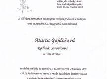 Smútočné oznámenie Marta Gajdošová