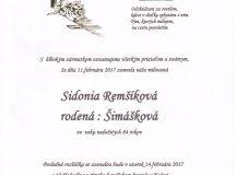 Smútočné oznámenie Sidonia Remšíková