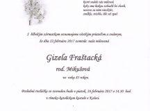 Smútočné oznámenie Gizela Fraštacká