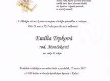 Smútočné oznámenie Emília Trpková