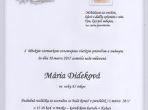 Smútočné oznámenie Mária Dideková