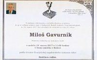Smútočné oznámenie Miloš Gavurník