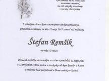 Smútočné oznámenie Štefan Remšík