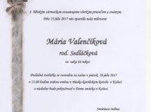 Smútočné oznámenie Mária Valenčíková