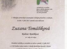 Smútočné oznámenie Zuzana Tomášiková