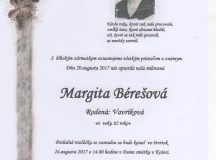 Smútočné oznámenie Margita Bérešová
