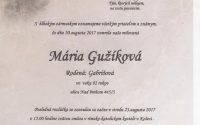 Smútočné oznámenie Mária Gužíková