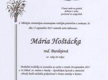 Smútočné oznámenie Mária Hoštácka