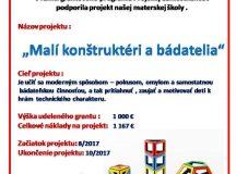 """Projekt """"Malí konštruktéri a bádatelia"""""""