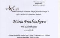 Smútočné oznámenie Mária Procházková