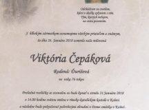 Smútočné oznámenie Viktória Čepáková