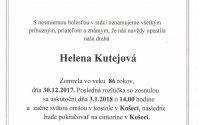 Smútočné oznámenie Helena Kutejová