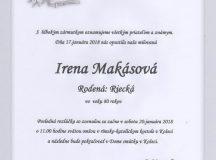 Smútočné oznámenie Irena Makásová