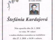Smútočné oznámenie Štefánia Kurdajová