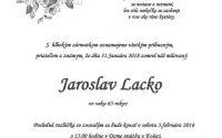 Smútočné oznámenie Jaroslav Lacko