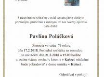 Smútočné oznámenie Pavlína Poláčková