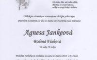 Smútočné oznámenie Agnesa Jankeová