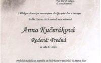 Smútočné oznámenie Anna Kučeráková