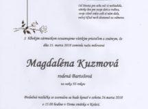 Smútočné oznámenie Magdaléna Kuzmová