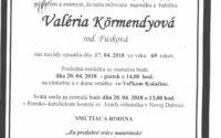 Smútočné oznámenie Valéria Körmendyová
