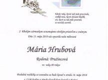 Smútočné oznámenie Mária Hrubová