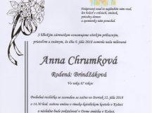 Smútočné oznámenie Anna Chrumková