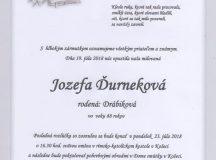 Smútočné oznámenie Jozefa Ďurneková