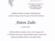 Smútočné oznámenie Anton Zubo