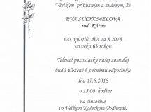 Smútočné oznámenie Eva Suchomelová