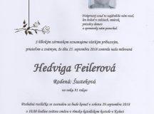 Smútočné oznámenie Hedviga Feilerová