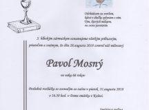 Smútočné oznámenie Pavol Mosný