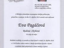 Smútočné oznámenie Eva Pagáčová