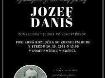 Smútočné oznámenie Jozef Daniš