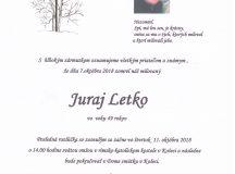 Smútočné oznámenie Juraj Letko