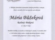 Smútočné oznámenie Mária Bůžeková